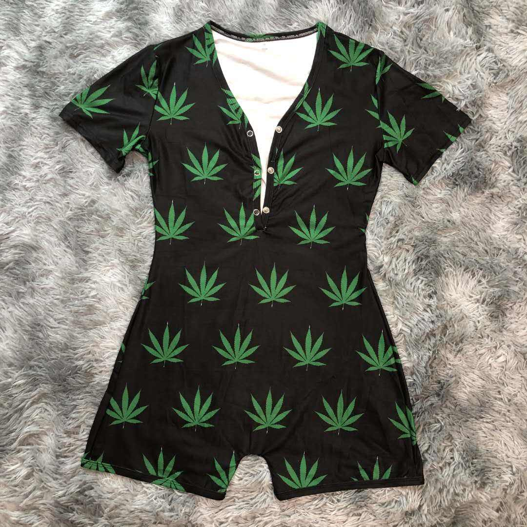 Custom short sleeve leaf onesie adult women sleepwear sexy nighty for honeymoon