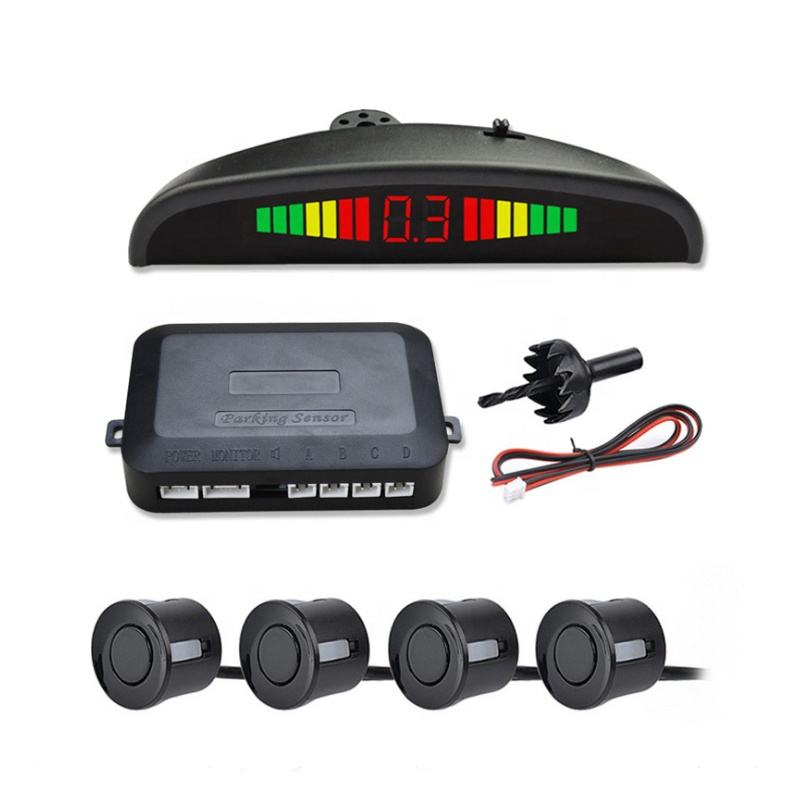 LED Parking Sensor System Car Reverse Backup Radar Buzzer Warning Alarm LED Display with 4 Parking Sensors