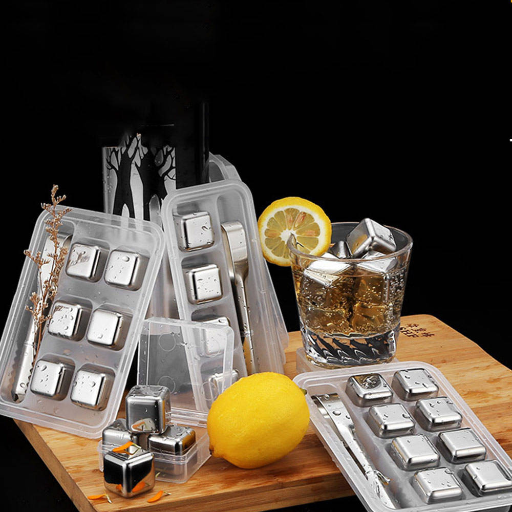 Stainless Steel Whiskey Stones Reusable Ice Cubes for Undiluted Drinks - Whiskey, Wine, Beer, Any Cold Beverage