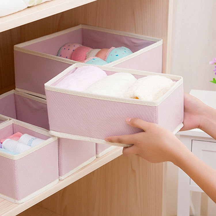 6PCS/Set underwear Bras drawer organizer Foldable Wardrobe drawer nonwoven socks storage box