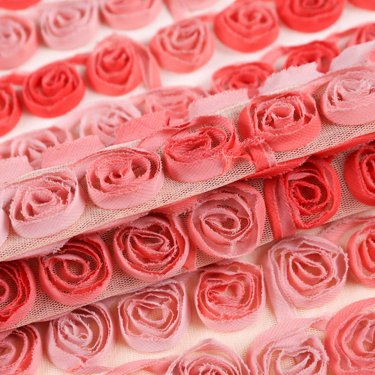 Beautiful chiffon rose flower 3D flower lace embroidered fabric for garment