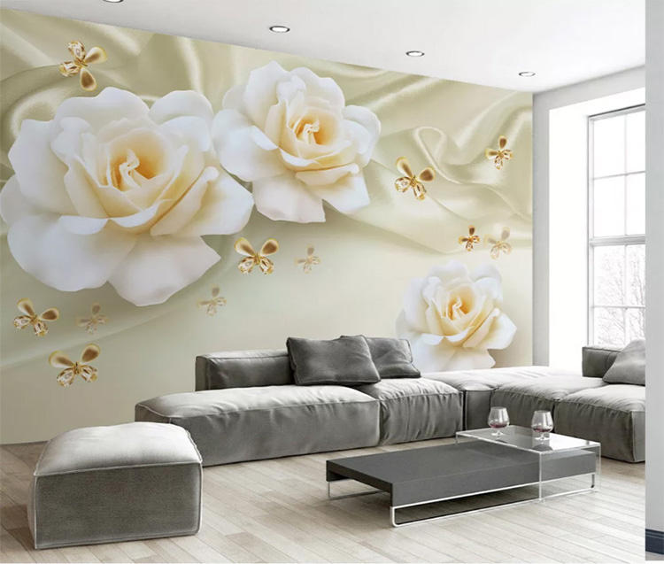 Warm rose mural wallpaper 3d silk white flower wallpaper home decoration