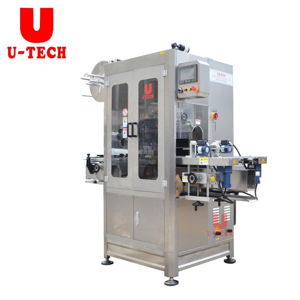 High Speed Automatic Pet Plastic Glass Bottle PVC Label Sleeve Shrink Labeling Labeller Packing Machine with Shrink Tunnel