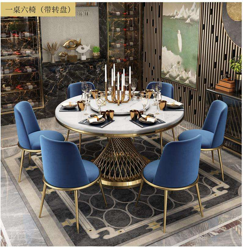 2020 top luxury soft parcel hotel restaurant Round marble Dining table with turntable