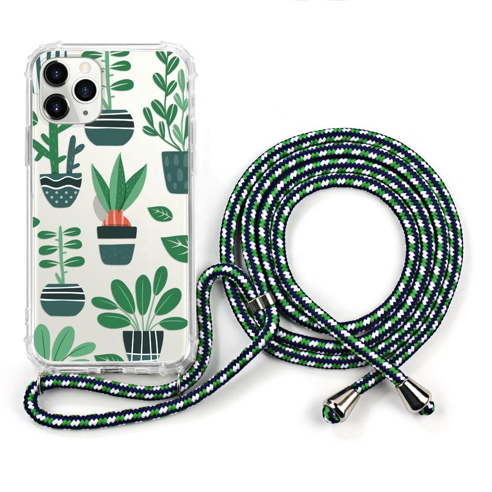 Nylon Anti-fall Lanyard Case Cover For Iphone 11 Neck Strap With Smartphone Case For Iphone Newest Model Cross Body Case Cover
