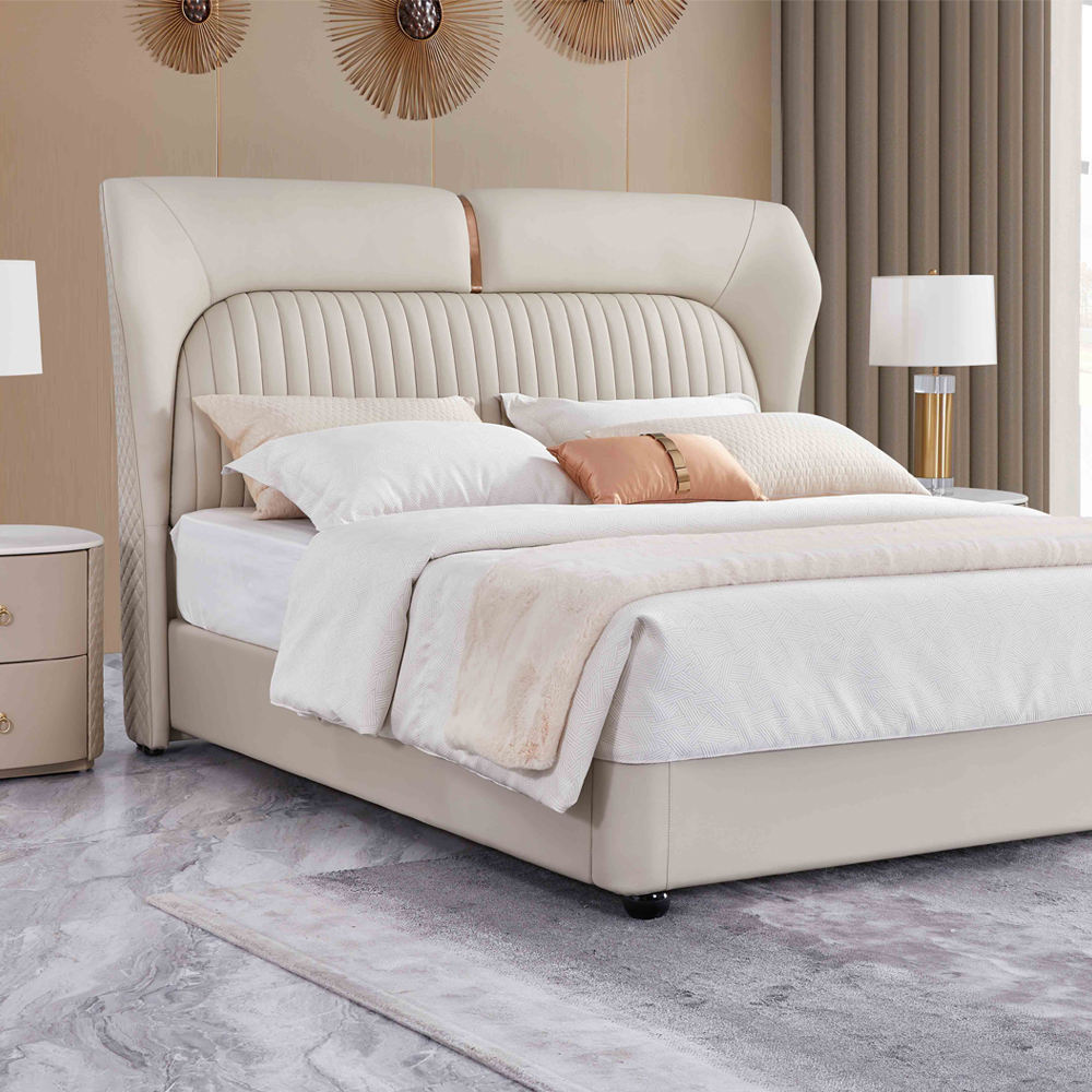modern furniture genuine leather double beds Italian luxury king size leather bed