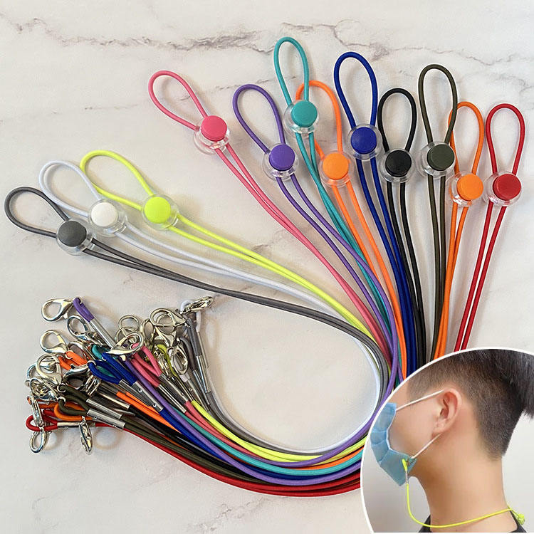 Spot wholesale top quality adjustable length face masking lanyard