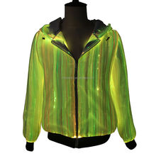 2020 New fashion fiber optic mens hoodies long sleeve zipper up style luminous apparel led hoodie