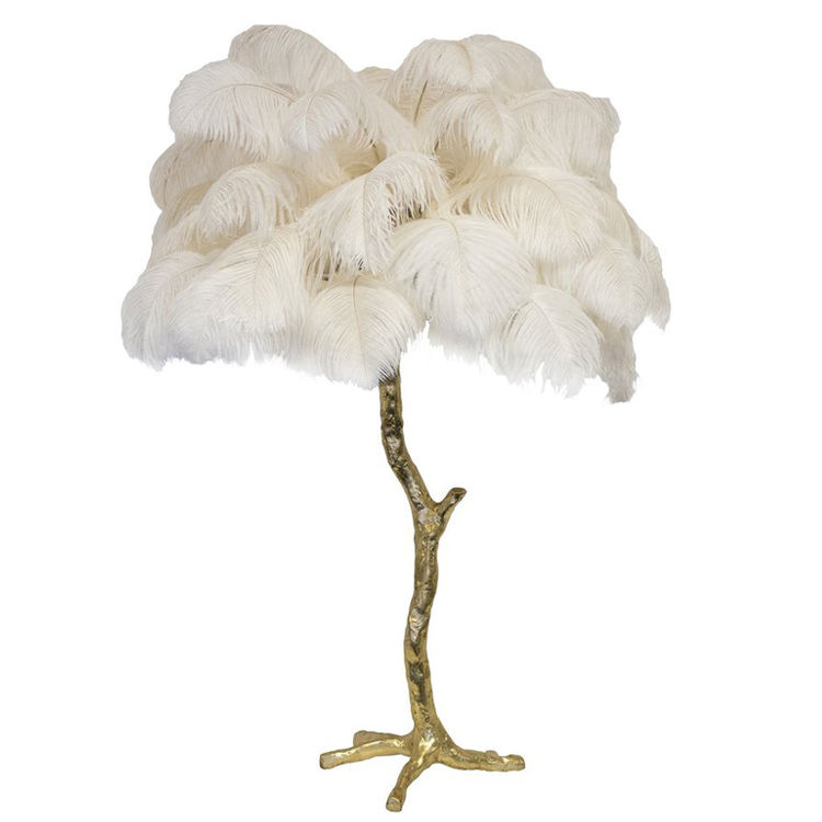 Hotel modern fashion purple pink white black ostrich feather tree table lamp
