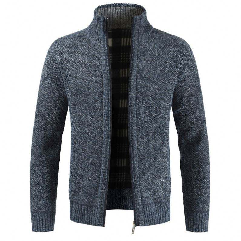 High Quality Custom Thick Cashmere Knitted Men's Sweaters Cardigan Wool Winter Zipper Knitting Sweater For Men