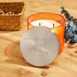 Brushed Round silver plated customed metal lid for scentd candle jars