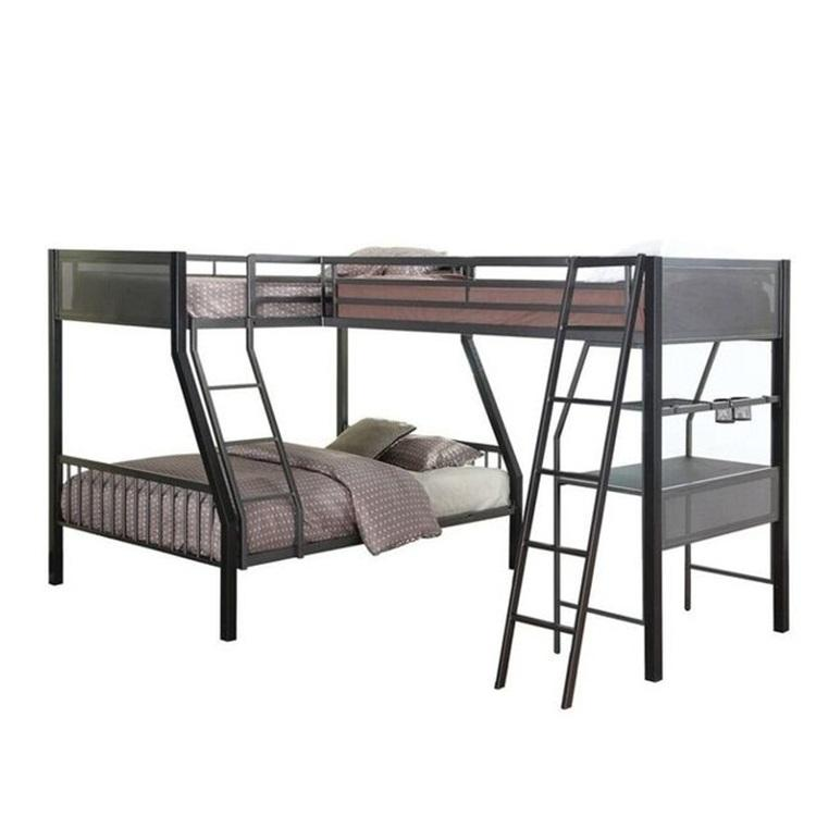 China supplier high quality metal twin full L-shaped study loft bunk bed for 3 or more