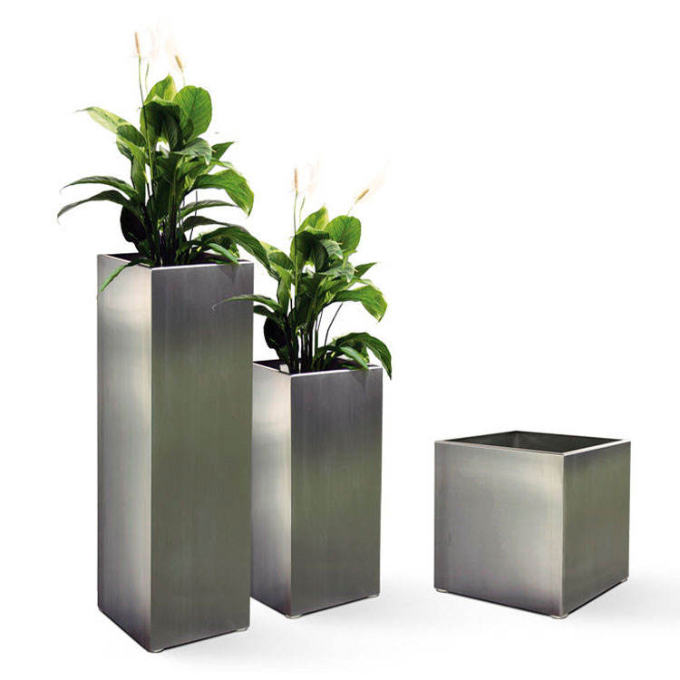 Arlau stainless steel wholesale flower pot and planter outdoor Galvanized metal flower planter