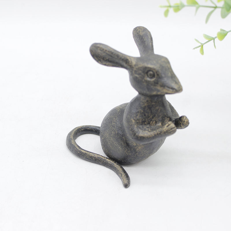 Metallo dell'annata 3D mouse bello ghisa animale figurine statua interna farm style