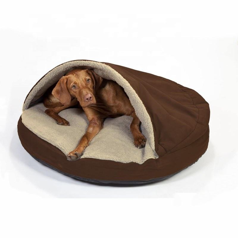 Manufacture Pet Accessories Washable Cozy Snoozer Luxury Cat Bed Large Round Orthopedic Snuggery Blanket Burrow Dog Cave Bed