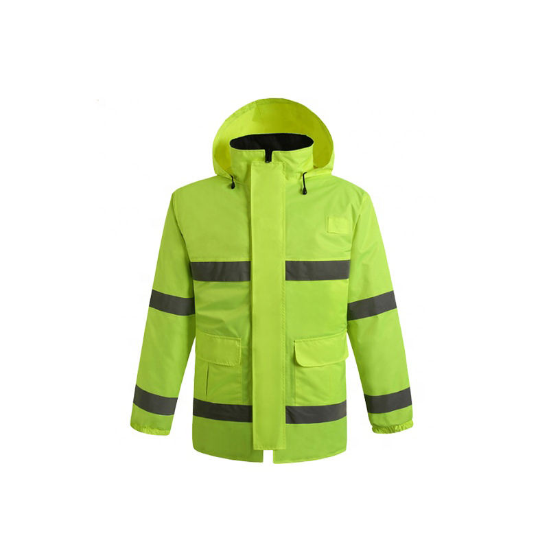 Reflective Waterproof Safety Police Raincoat With Reflective Tape