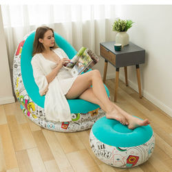 Single luxurious flocking Graffiti inflatable sofa,lazy sofa folding loungers, outdoor portable inflatable chair