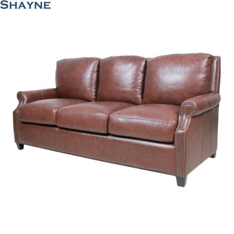Shayne ODM Furniture Factory Luxurious High-grade Antique Living Room Custom Brown 3 Seater Made In China Leather Sofa