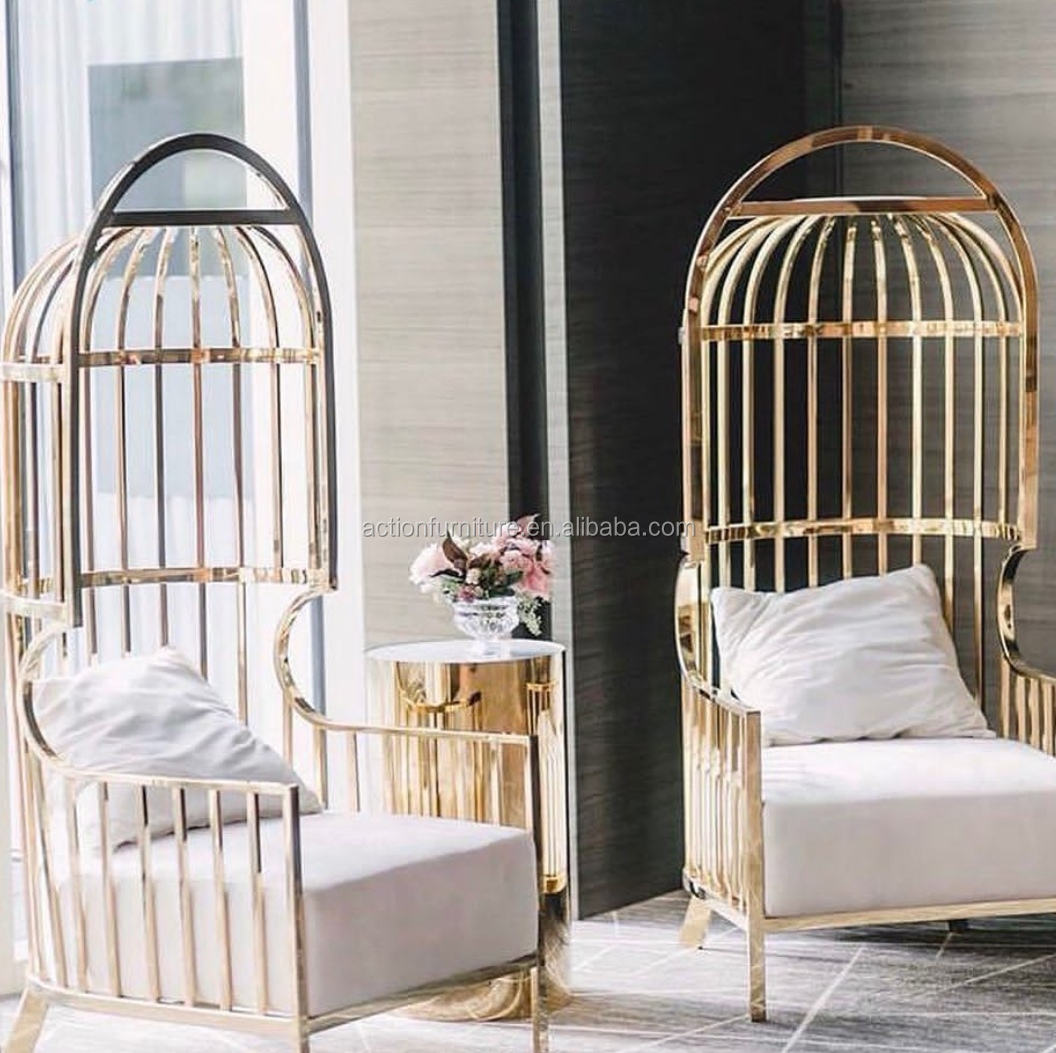 Commercial Stainless Steel Velvet Fabric Birdcage King And Queen Wedding Chairs Coffee Chair For Bride And Groom