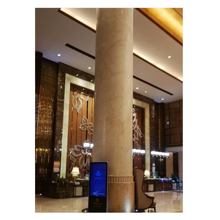 Customized Project Yellow Hollow Marble Column Stone Interior Design Columns Pillars