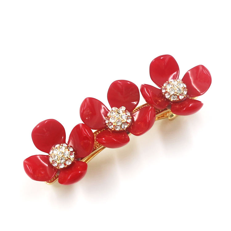 European Fashion Hair Accessories Hair Clips Painting Oil Red Flowers Diamonds Hairpins For Women