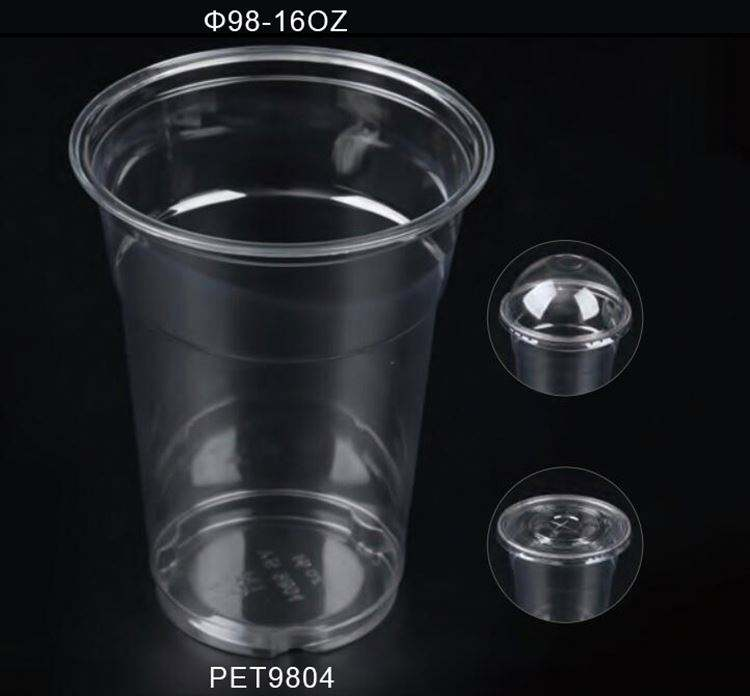 12 14 16 20 24 Oz Disposable Plastic PP PS PET Cup With Dome Flat Lid Cover Supplier