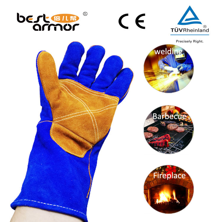 High Temperature Resistant Fireproof Leather Gloves Cheap Wholesale Industrial Gloves Fireplace Oven Puncture Resistant Gloves