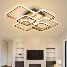 Dimmable Remote Control Ceiling Light Modern LED 4, 6, 8 Arms Coffee White Square Chandeliers