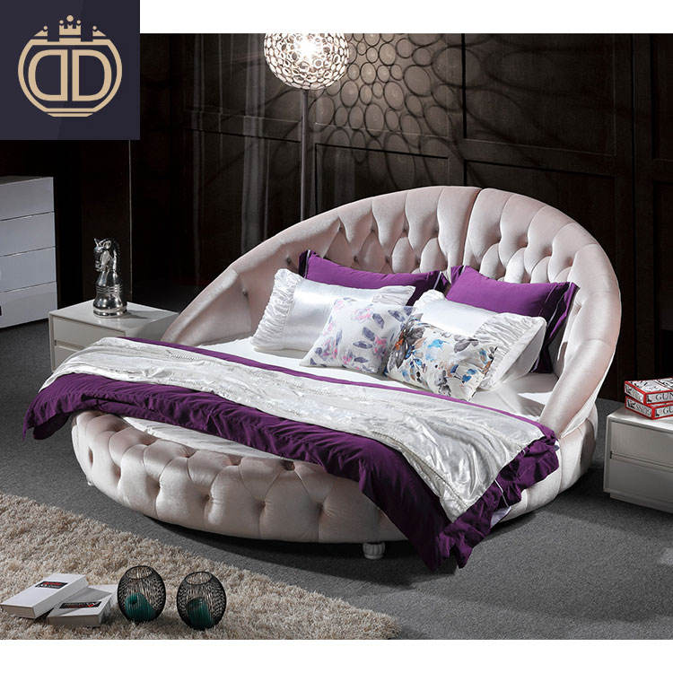 modern white round bed furniture prices Luxury romantic style king soft leather king size round bed