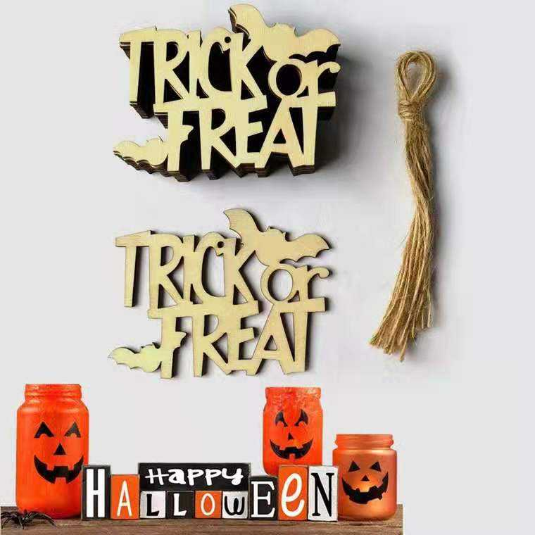 2019 custom wood hanging ornaments decoration halloween