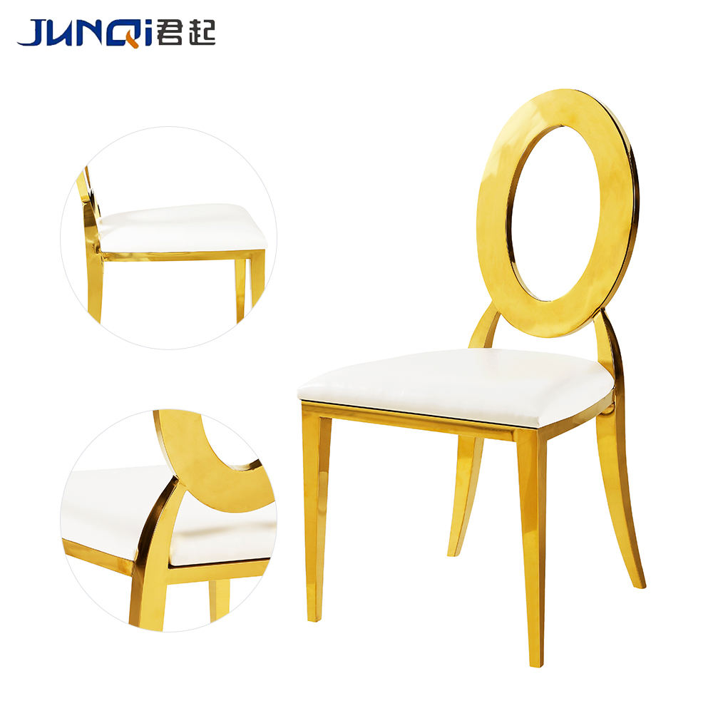 Wedding hole oval back gold dining chairs Cheap Price Wedding Event Gold Banquet Chair