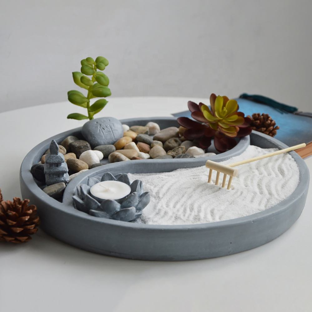 Fengshui indoor resin zen buddha fountain with sand rock and rake sence