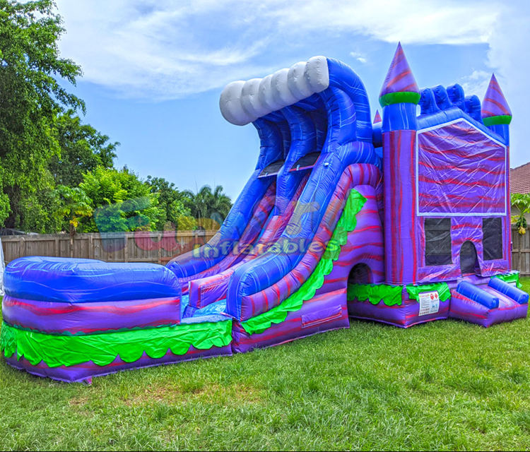 Commercial kids dual lane tropical jump combo waterslide pool obstacle bouncy castle bouncer inflatable water slide bounce house