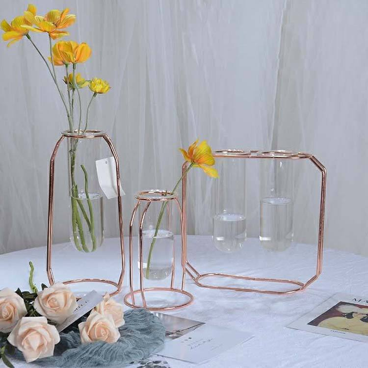 Hydroponic glass flower vase clear hanging glass tube vase with metal holder