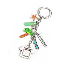 Maldives metal key chain slipper glasses starfish palm of pendants T shirt Maldives souvenir keychain