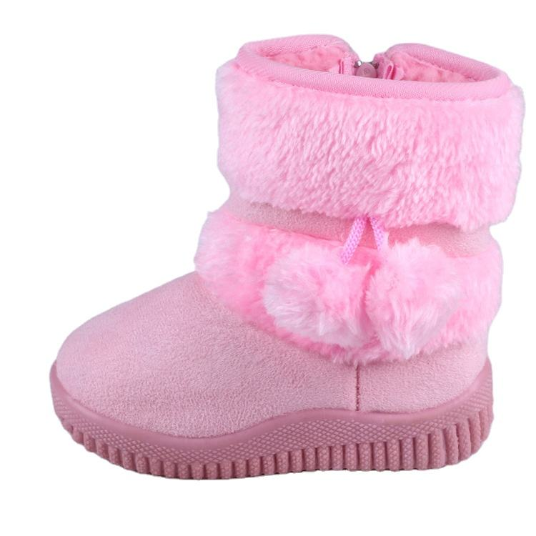 DOGEEK Winter Girls ChildrenNon-slip Kids Thicker Fur Shoes Hairball Baby Cotton Snow Boots