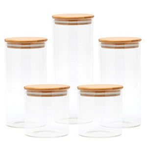 1400ml Large Airtight Glass Jar Glass Canister Set with Airtight Bamboo Lids