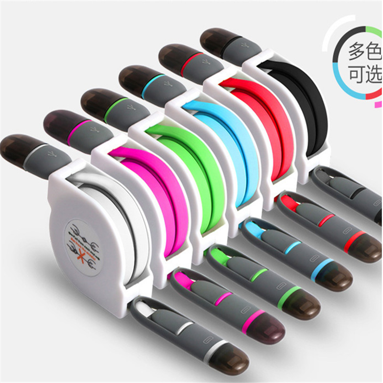 hot selling Retractable micro usb charging cable automatic roll up cable of iphone /Android