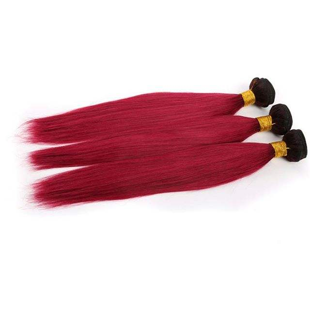 Brazilian Virgin Human Hair Weaves Wefts Straight Two Tone Pink Ombre Hair Extensions