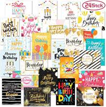 24 Birthday Cards Assortment, Elegant Bulk Notes Embossed with Gold Foil Letters, with Envelopes and Stickers (4.7*6.7inch)