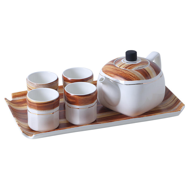 2020 New Wholesale elegant teaware wooden pattern porcelain coffee & tea set with wood stand