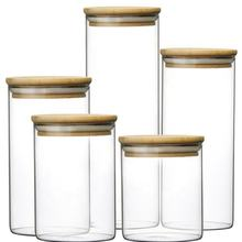 Home Use Glass Kitchen Canisters Bamboo Lids Clear Glass Food Storage Jar
