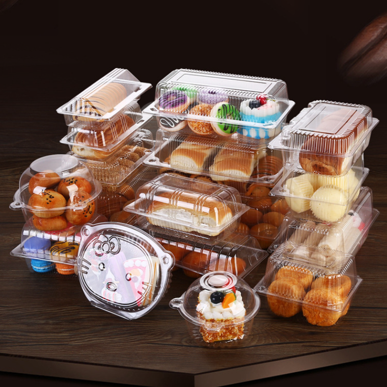 Customized round square rectangular shape cup cake slice loaf pastry rpet clamshell blister plastic clear cake packaging boxes