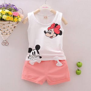 Baby Girls Clothing Sets White Two Piece Outfit Cartoon Printing Cotton Vest + Bow Decoration Shorts Kids Apparel