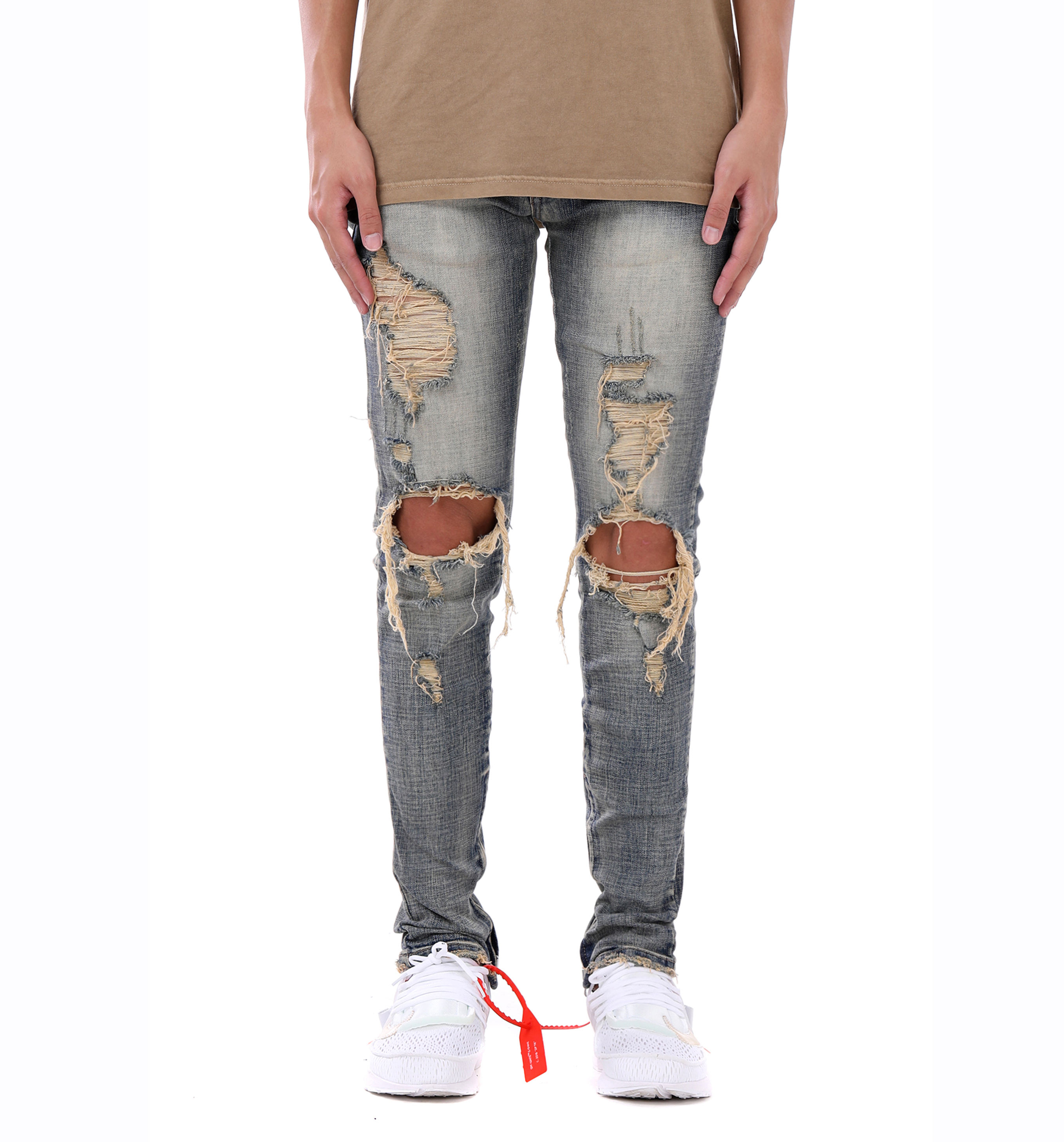 new fashion streetwear Mens destroyed denim slim ripped vintage blue jeans