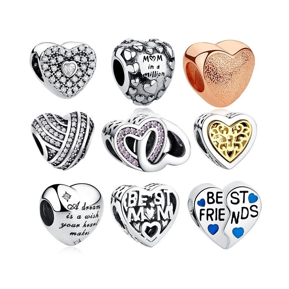 Factory Price 925 Sterling Silver jewelry Hollow Love Heart Charms 925 Silver Charm Beads For Bracelet Making