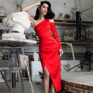 A4084 Evening Dress Women Red One Shoulder Cutout Side Slit Sexy Satin Midi Dress