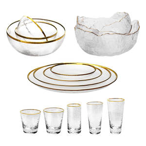 Dinning Glass Cup Tableware Glass Mixing Bowl Salad Bowl Charger Glass Plate