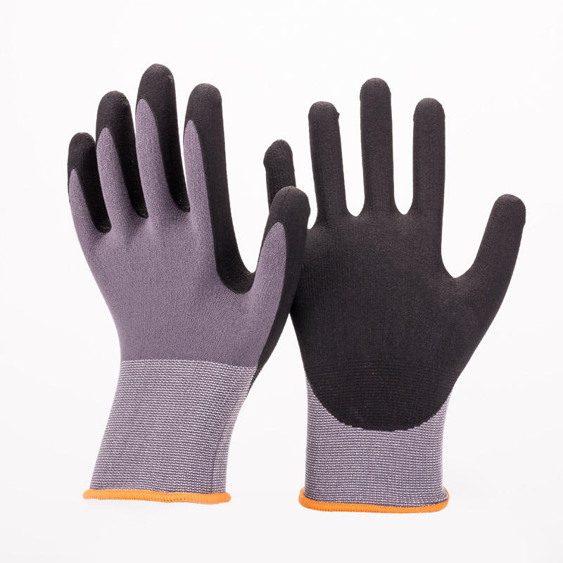 Nylon Knitted Black Sandy Finish Nitrile Gloves Arbeits Handschuhe Guantes de Nitrilo Sandy Nitrile Coated Work Safety Gloves