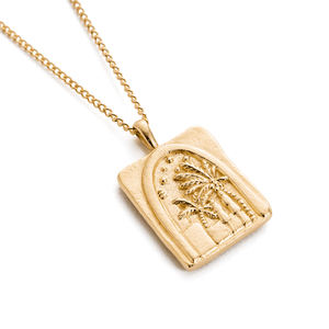 Gemnel 18k vermeil sterling silver palm tree couple rectangle necklace